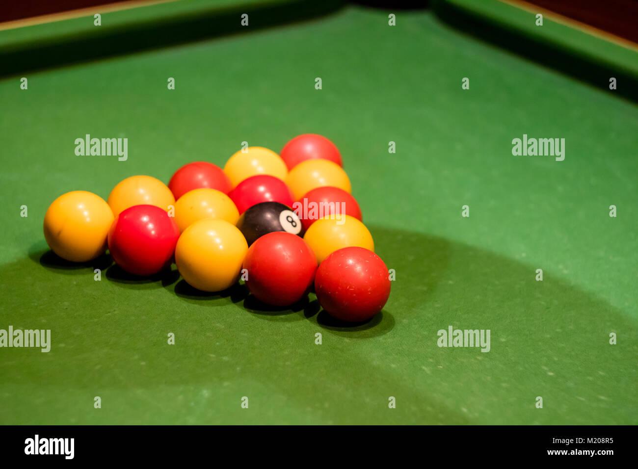 Pool Table Setup >> Pool Balls Set Up On A Pool Table Taken At An Angle Stock