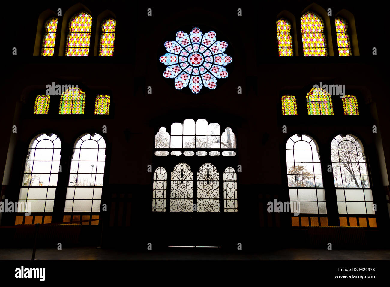 Istanbul, Turkey; January 24, 2015: Interior of Sirkeci Train station with reverse light - Stock Image