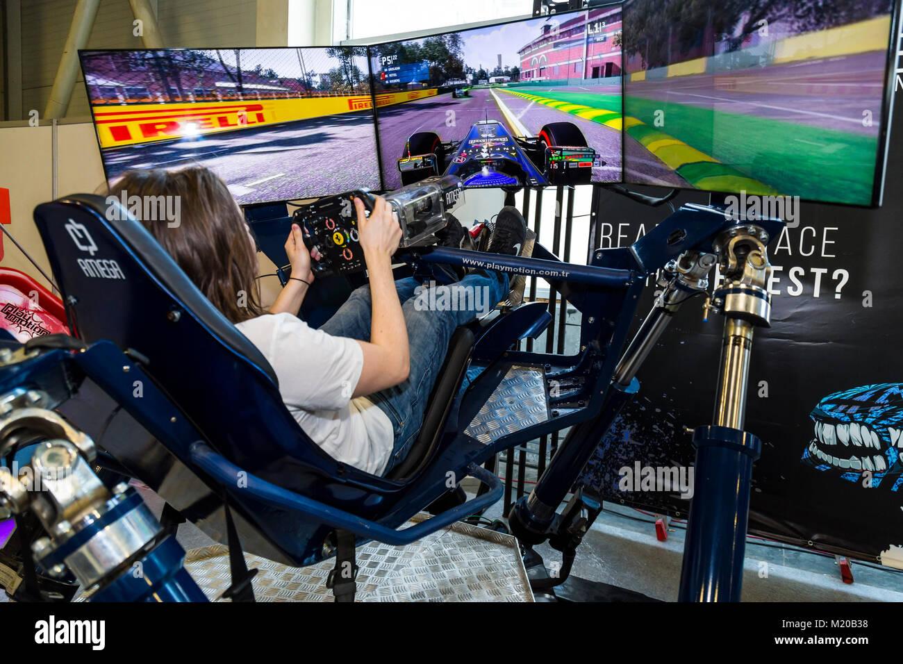 Istanbul, Turkey - April 21, 2017: Formula 1 driving