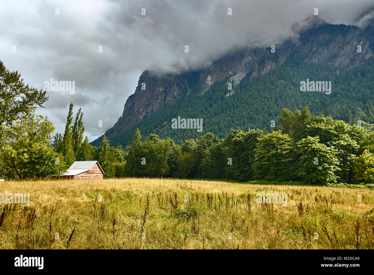 Small agricultural building nestled amongst some trees at the base of a cloud covered mountain just outside Fall - Stock Image