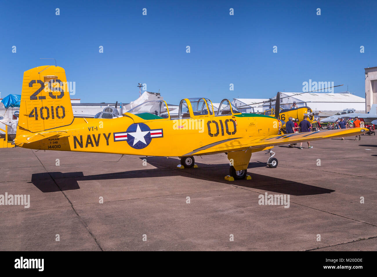 A Beechcraft T-34B Mentor trainer in static ground display at the 2017 Airshow in Duluth, Minnesota, USA. - Stock Image