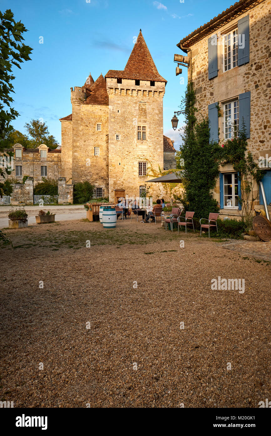 The Chateau de la Marthonie in St Jean de Cole in the Dordogne France - one of the most beautiful villages of France - Stock Image