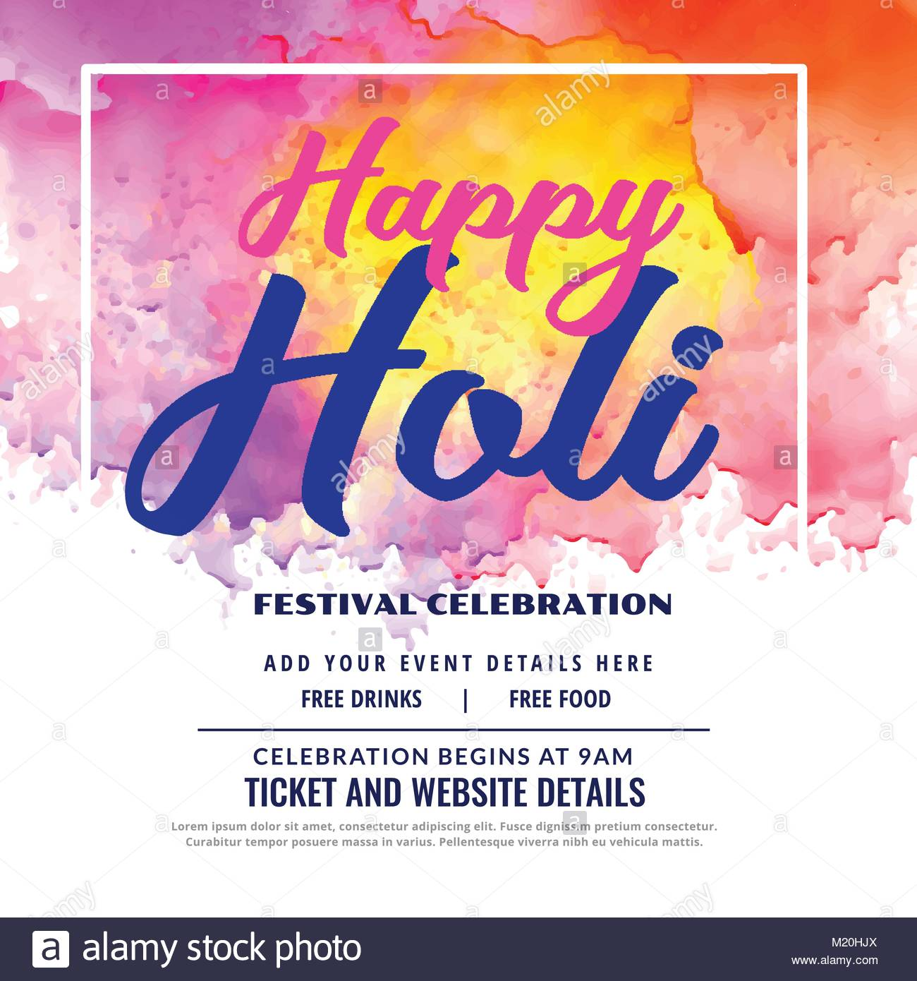 happy holi festival celebration invitation card design Stock Vector ...
