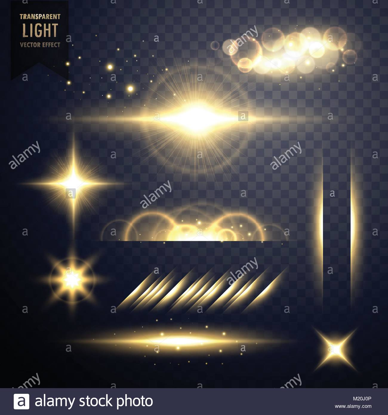 transparent golden set of lens flares light effect vector Stock Vector