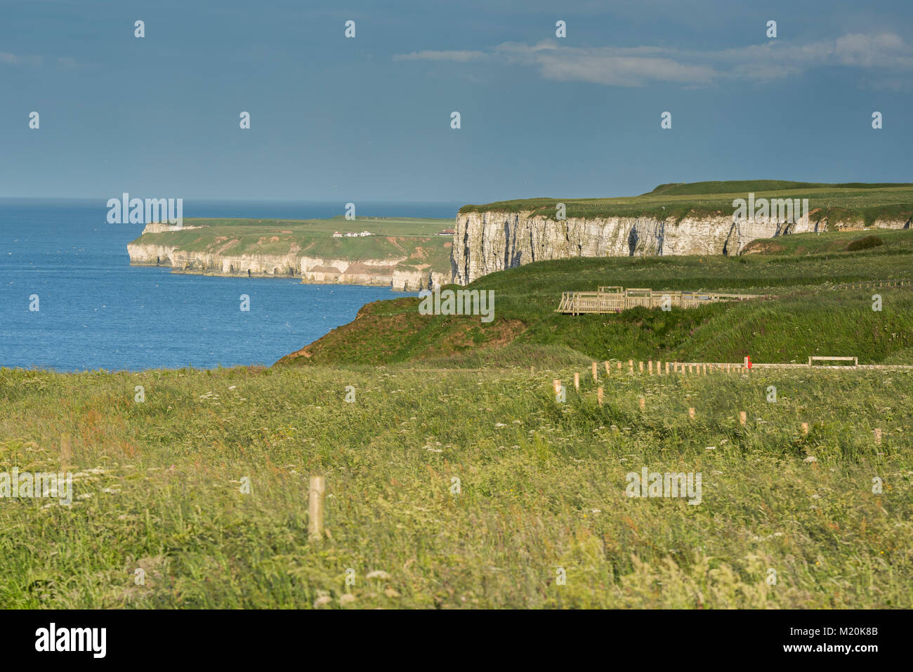 Scenic cliff-top coastal view from Bempton Cliffs RSPB reserve, of blue sky, North Sea & towering chalk headlands - Stock Image