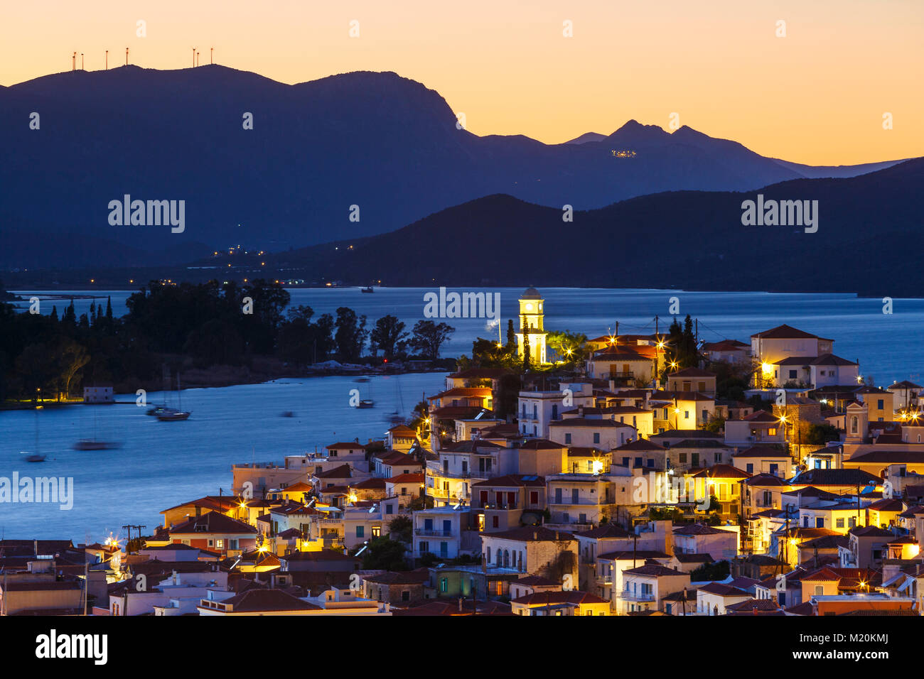 View of Poros island and mountains of Peloponnese peninsula in Greece. - Stock Image