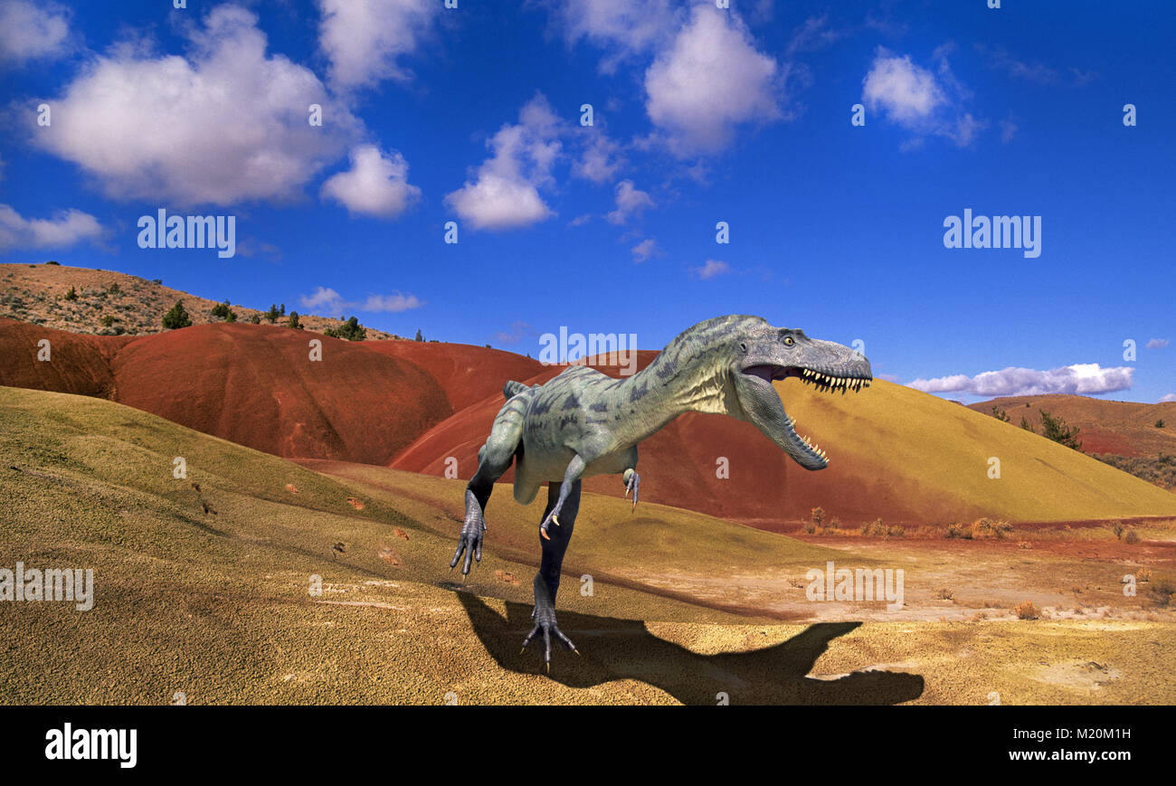 Deinonychus, one of the smaller meat-eating or carnivorous dinosaur stalks through a volcanic wasteland beneath - Stock Image