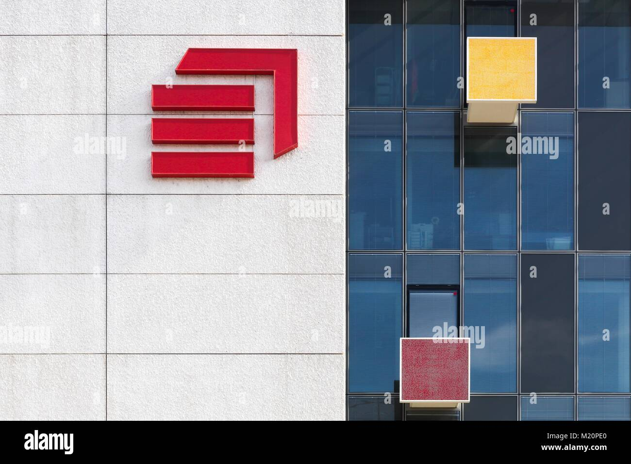 Lyon, France  March 15, 2017: Eiffage office building with the logo of the company on a wall. Eiffage is a French Stock Photo
