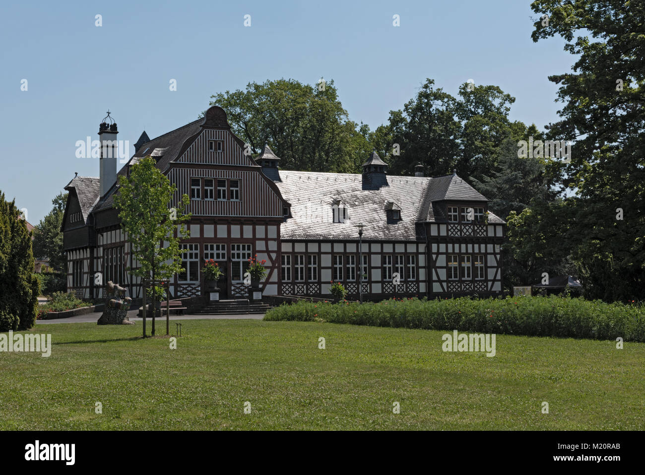 The house of the public library in the historical spa park Bad Nauheim, Hesse, Germany - Stock Image