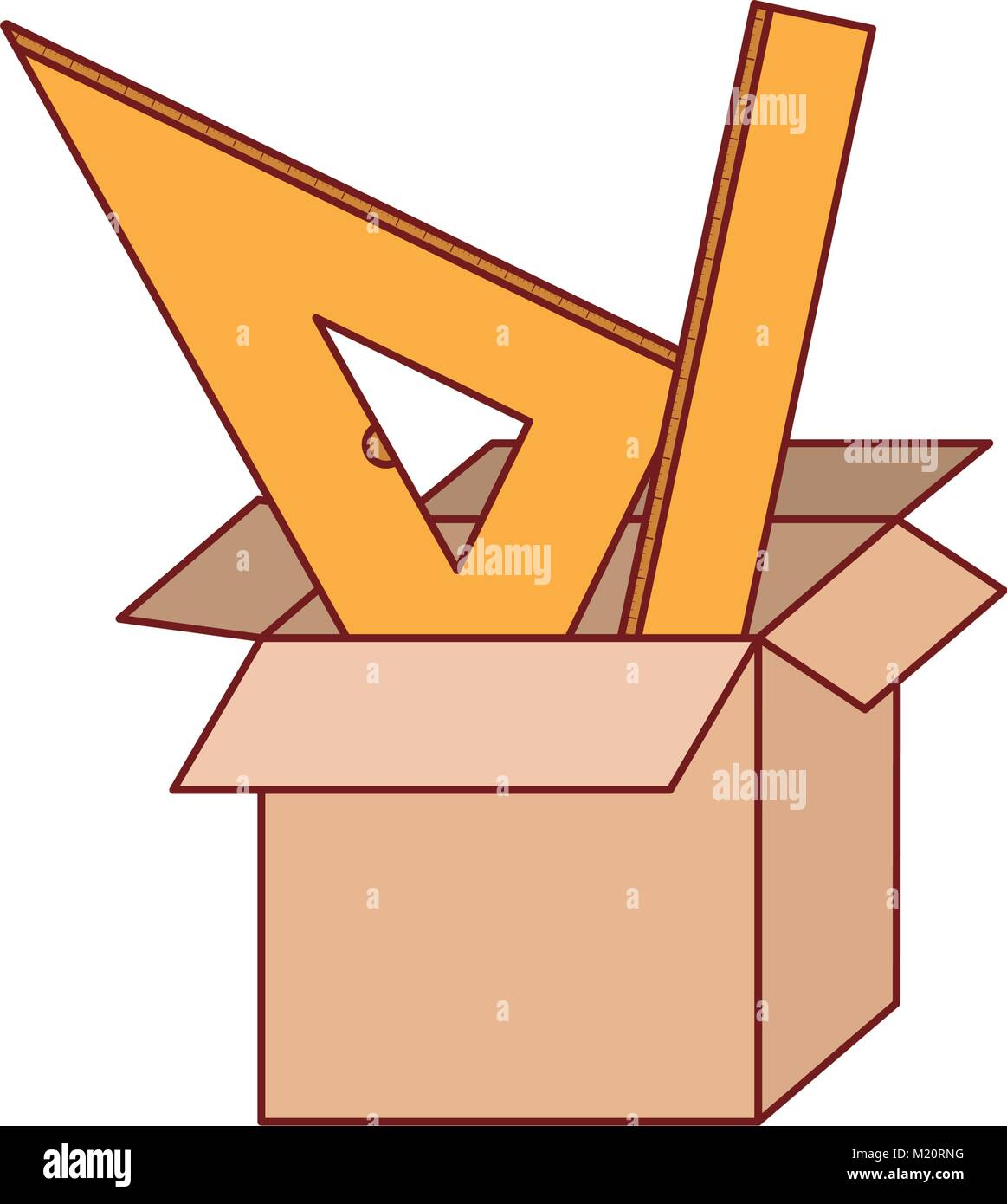 cardboard box and rulers set in colorful silhouette with thin red contour - Stock Vector