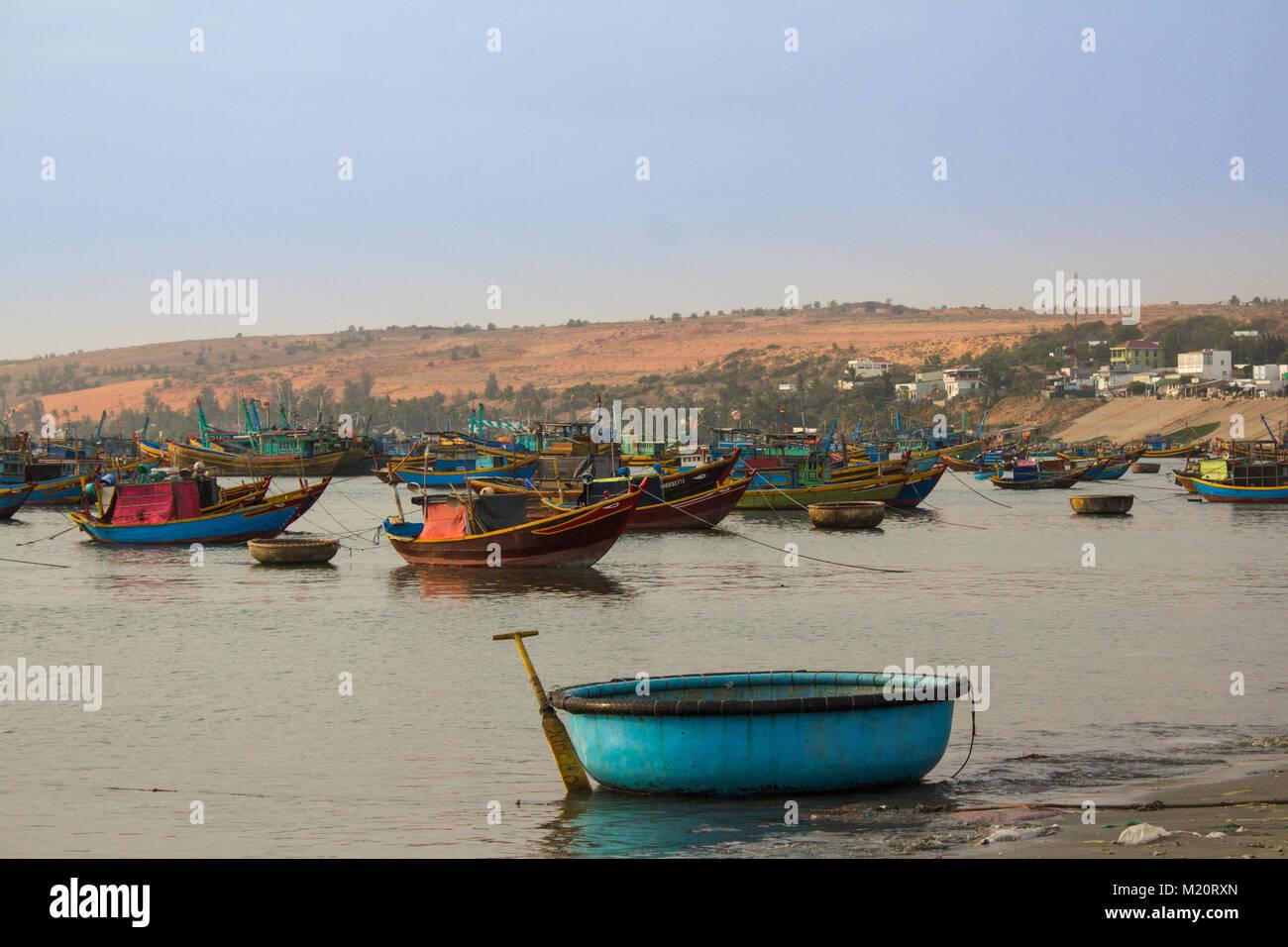 fisher boat harbor in  Mui Ne, Vietnam - - Stock Image