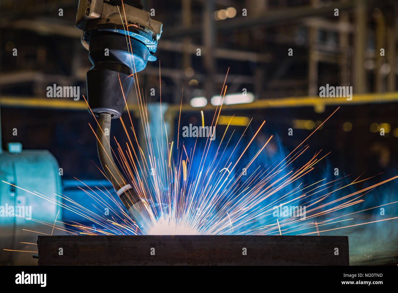 Close up torch body of robot welding - Stock Image