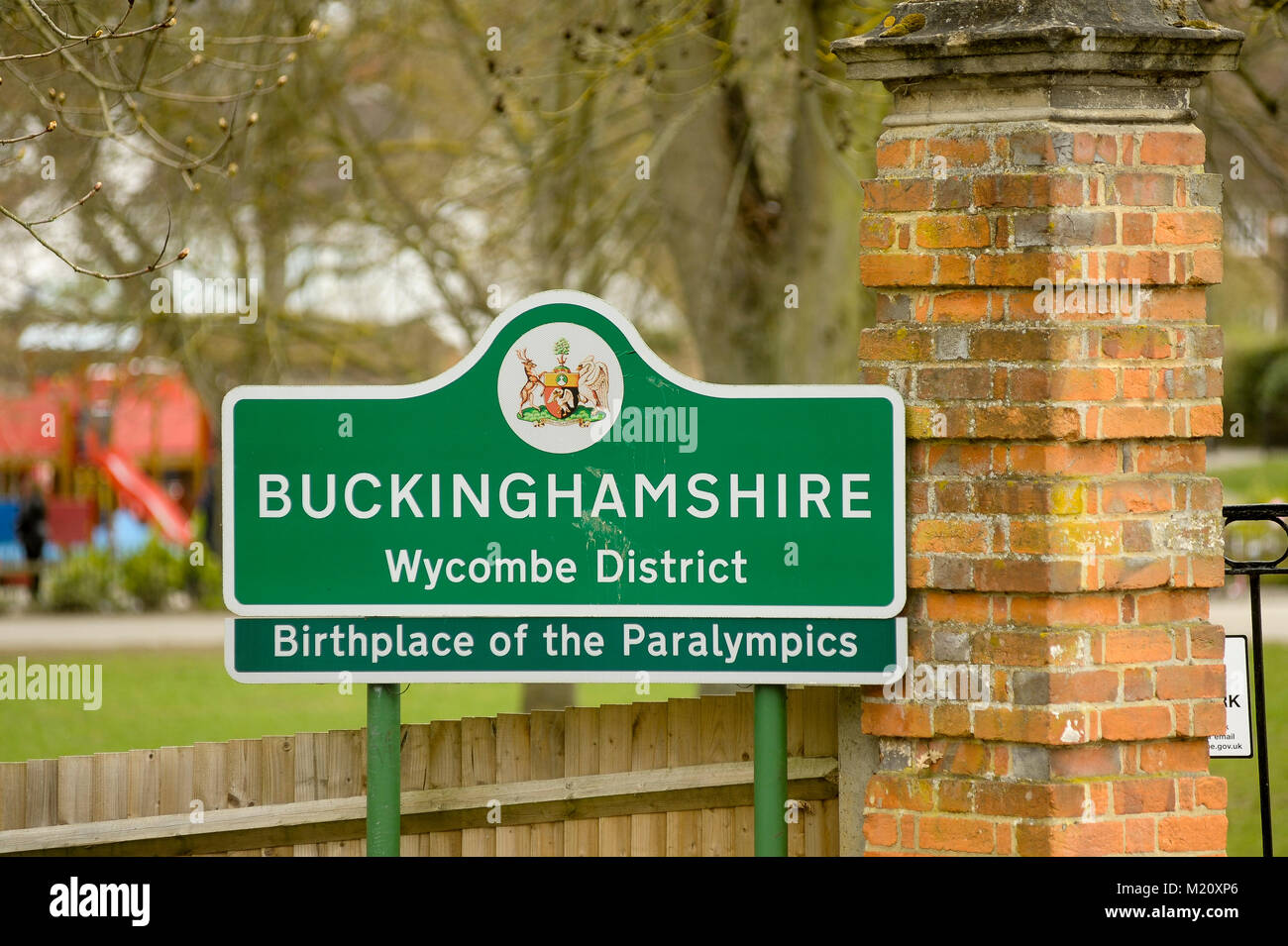 Buckinghamshire Wycombe District Birthplace of the Paralympics board in Marlow, Buckinghamshire, England, United - Stock Image