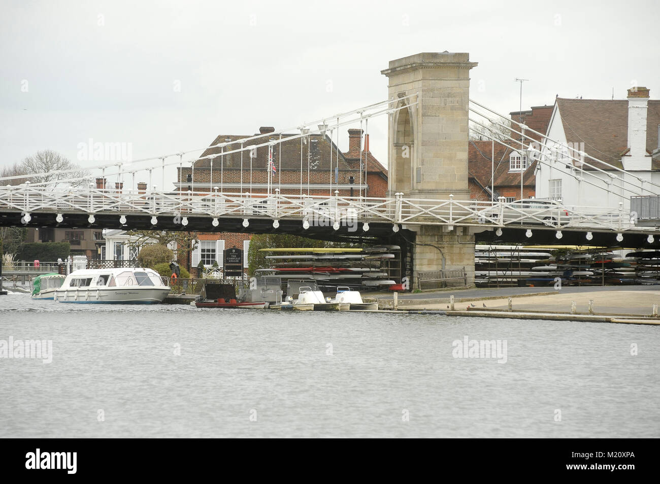 Suspension bridge Marlow Bridge designed by William Tierney Clark in XIX century on River Thames in Marlow, Buckinghamshire, Stock Photo