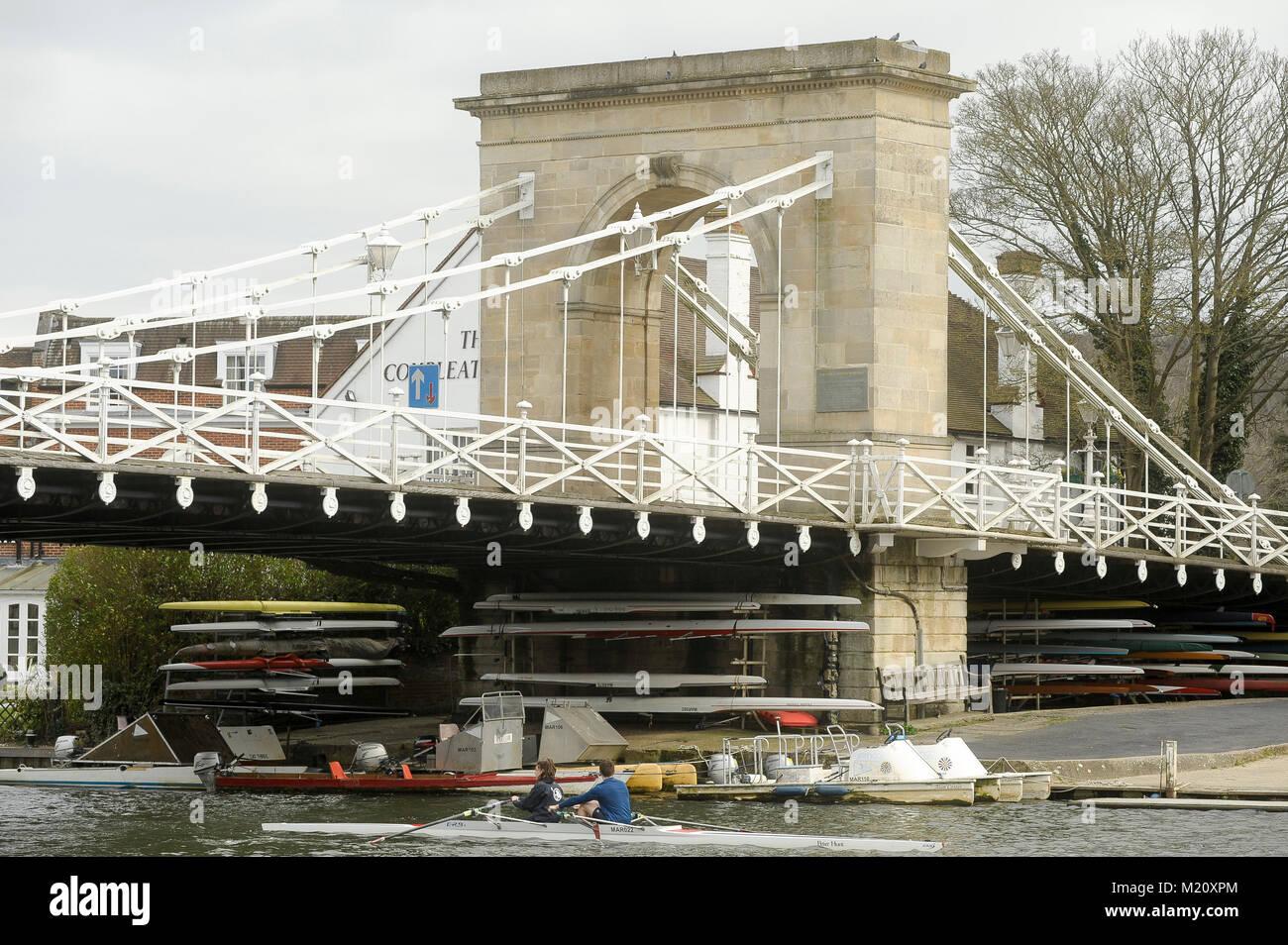 Suspension bridge Marlow Bridge designed by William Tierney Clark in XIX century on River Thames in Marlow, Buckinghamshire, Stock Photo