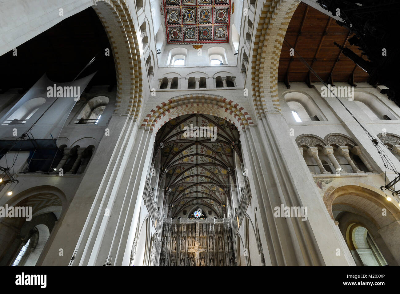 Norman, Romanesque and Gothic style Cathedral and Abbey Church of St Alban from XI century in St Albans, Hertfordshire, Stock Photo
