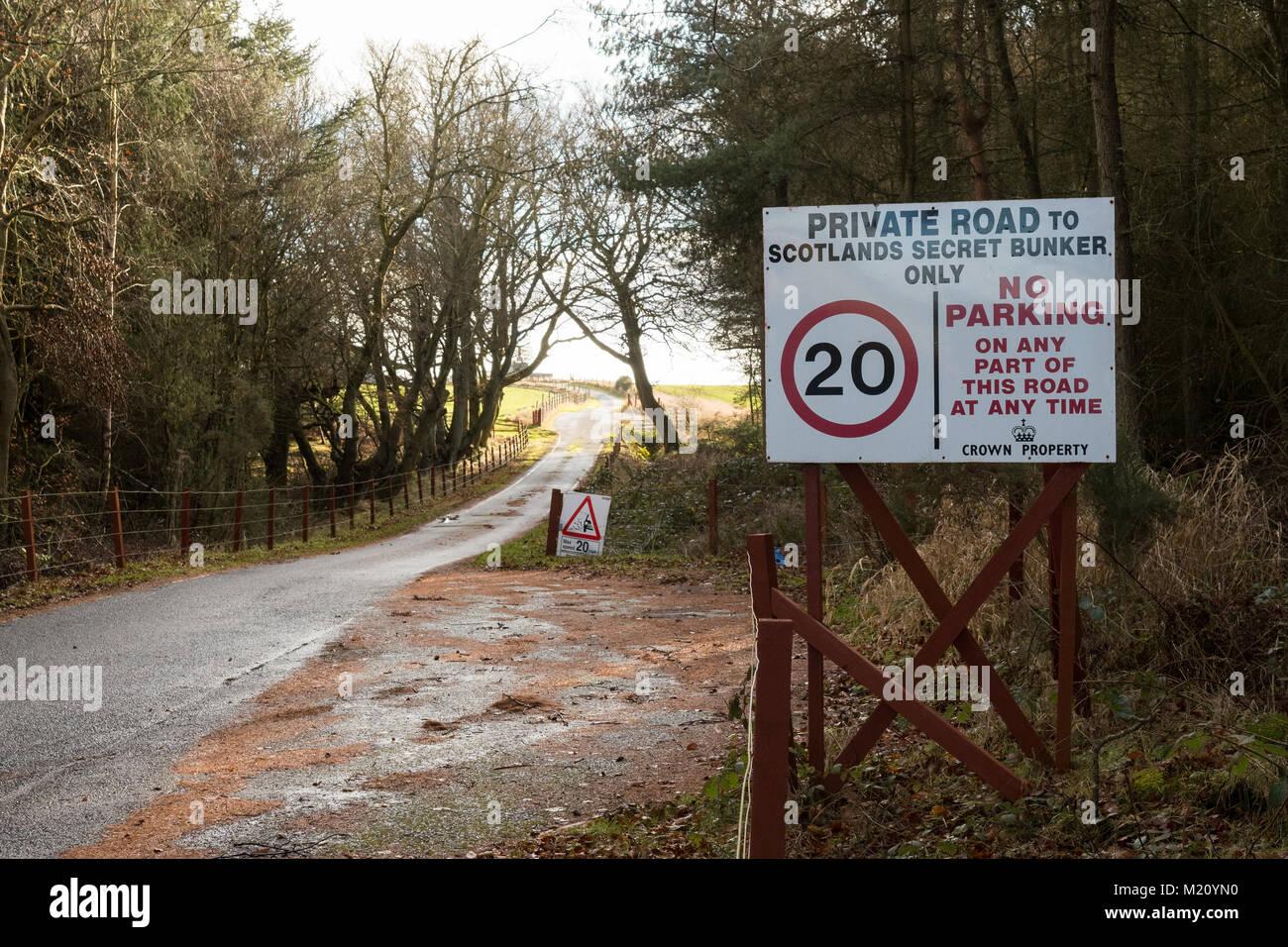 signs leading to Scotlands Secret Bunker, Troy Wood, Fife, Scotland, UK - Stock Image