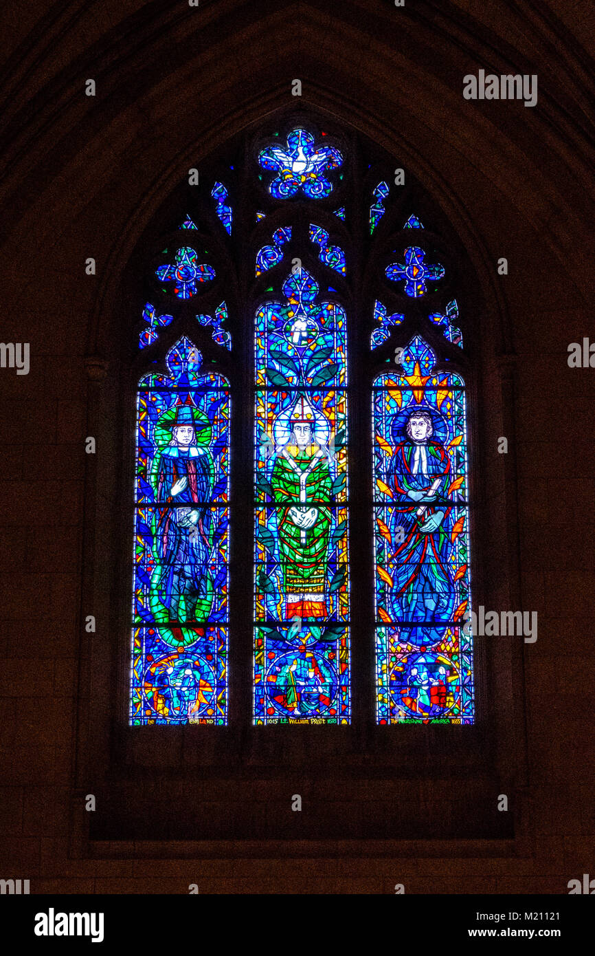 Servants of God Stained Glass Window,  National Cathedral Association Bay, Washington National Cathedral, 3101 Wisconsin - Stock Image