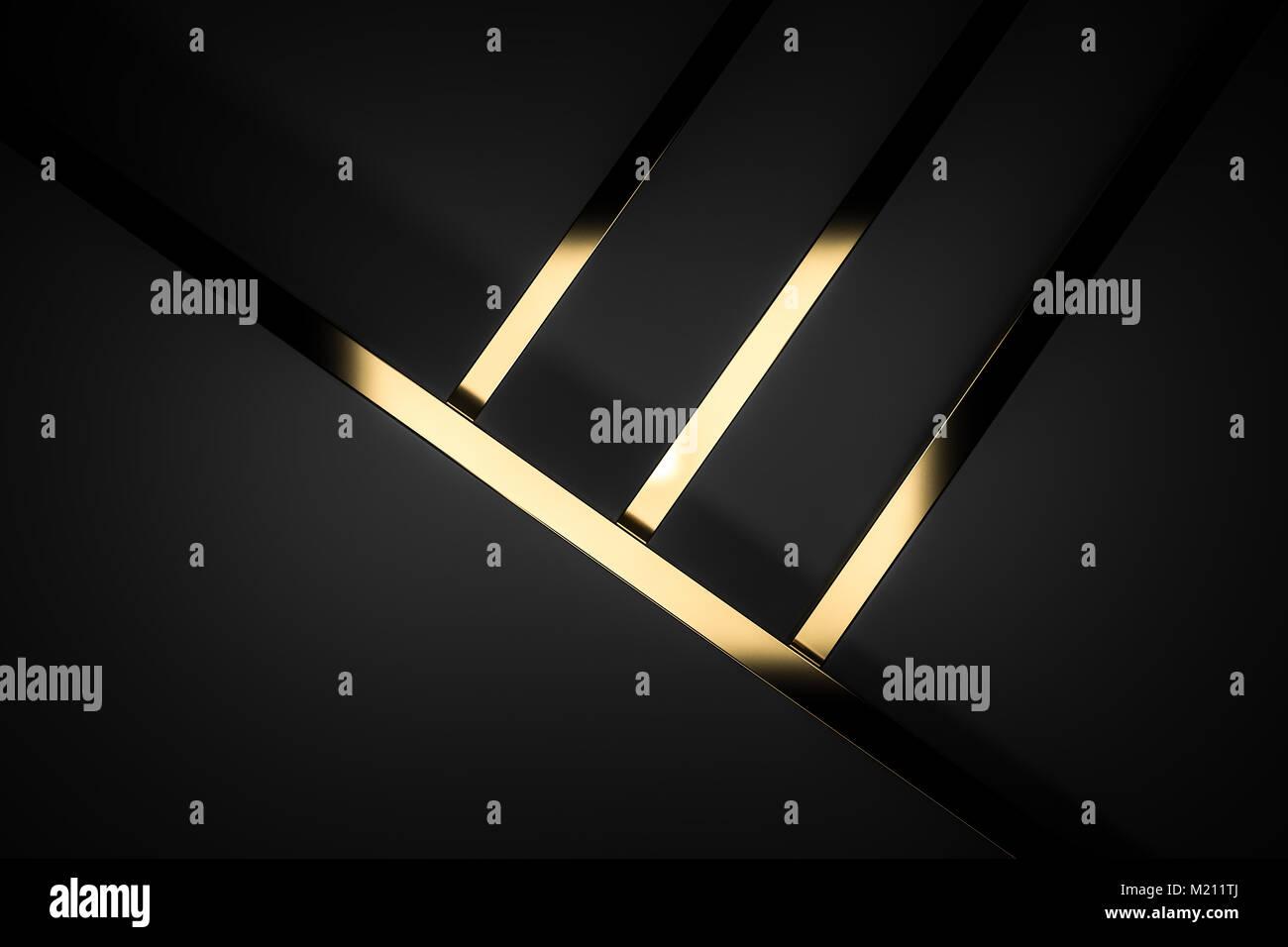 Abstract Dark Black Gold Luxury Background 3d Render Stock