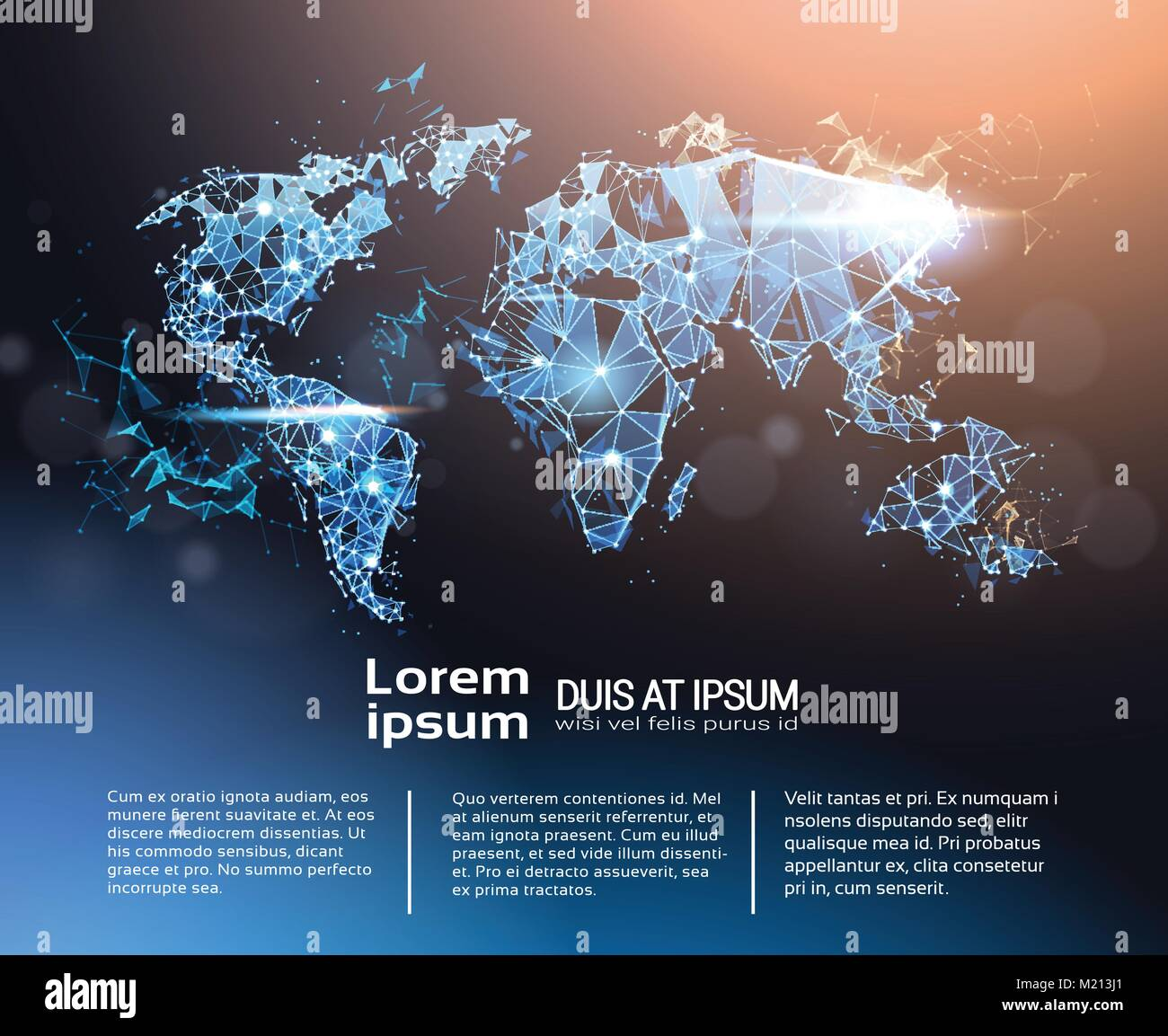 Polygonal World Map Infographic Banner With Copy Space Global Travel And International Connection Concept