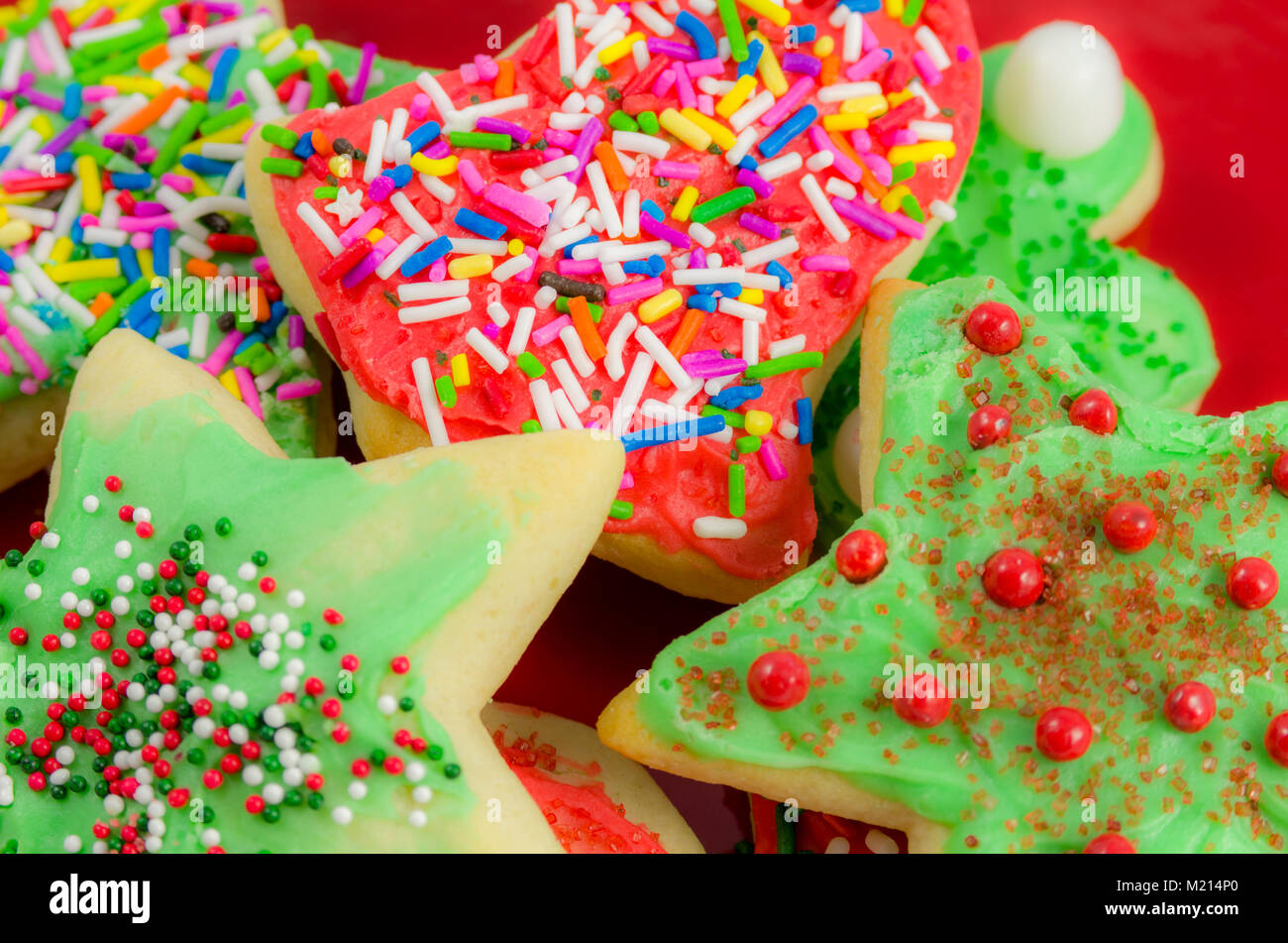Decorated Delicious Christmas Cookies With Colorful Frosting And