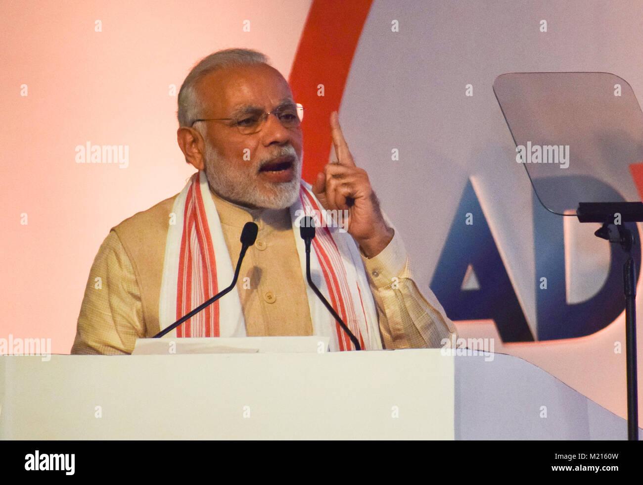 Prime Minister of India Narendra Modi addresses at Advantage Assam- Global Investors Summit 2018 at Sarusajai Stadium. - Stock Image