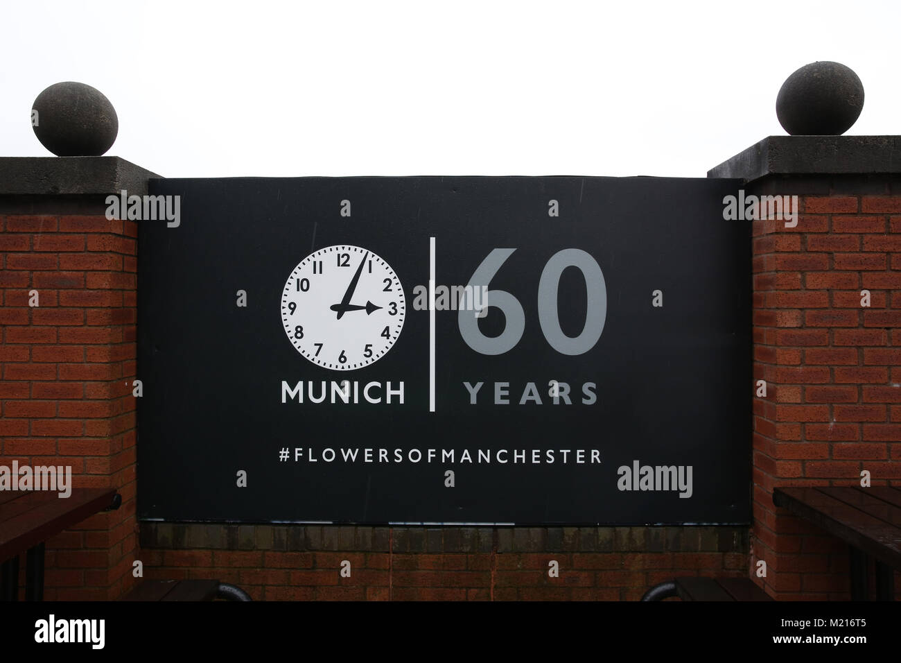 Manchester, UK, 3 Feb 2018. A memorial of Munich  on the 60th anniversary of the Munich Air Disaster. On the 6th - Stock Image