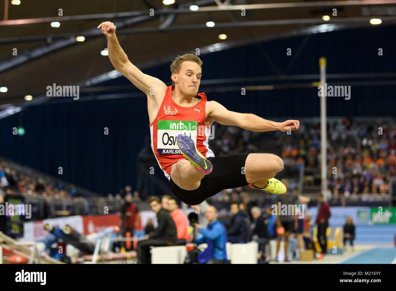Karlsruhe, Deutschland. 03rd Feb, 2018. Weitsprung Maenner: Florian Oswald (GER). GES/ Leichtathletik/ Indoor Meeting - Stock Image