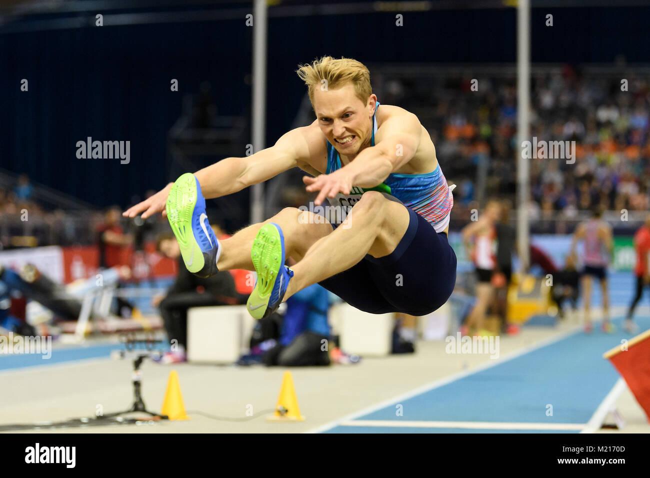 Karlsruhe, Deutschland. 03rd Feb, 2018. Weitsprung Maenner: Benjamin Gfoehler (SUI). GES/ Leichtathletik/ Indoor - Stock Image