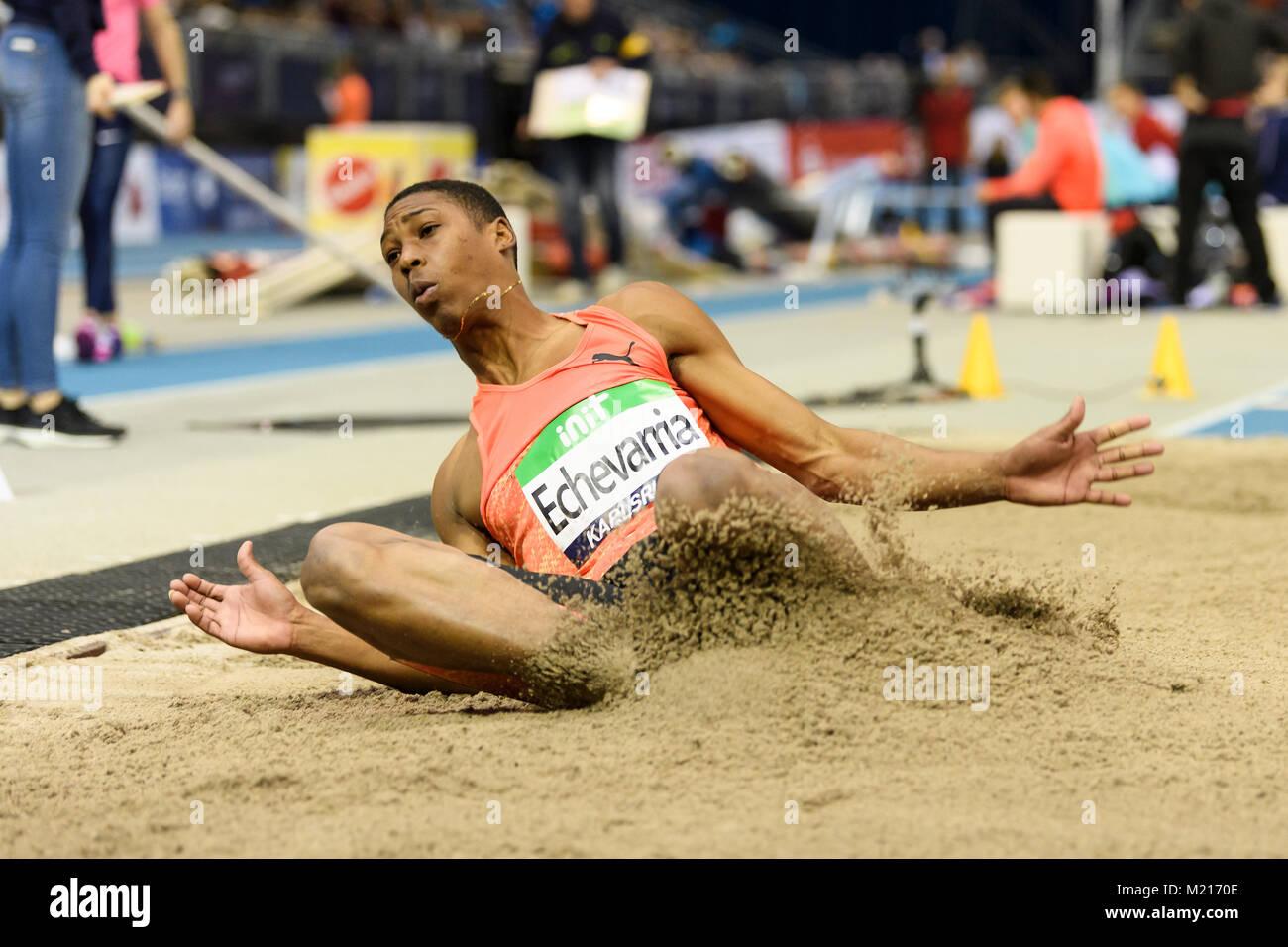 Karlsruhe, Deutschland. 03rd Feb, 2018. Weitsprung Maenner: Juan Miguel Echevarria (CUB). GES/ Leichtathletik/ Indoor - Stock Image