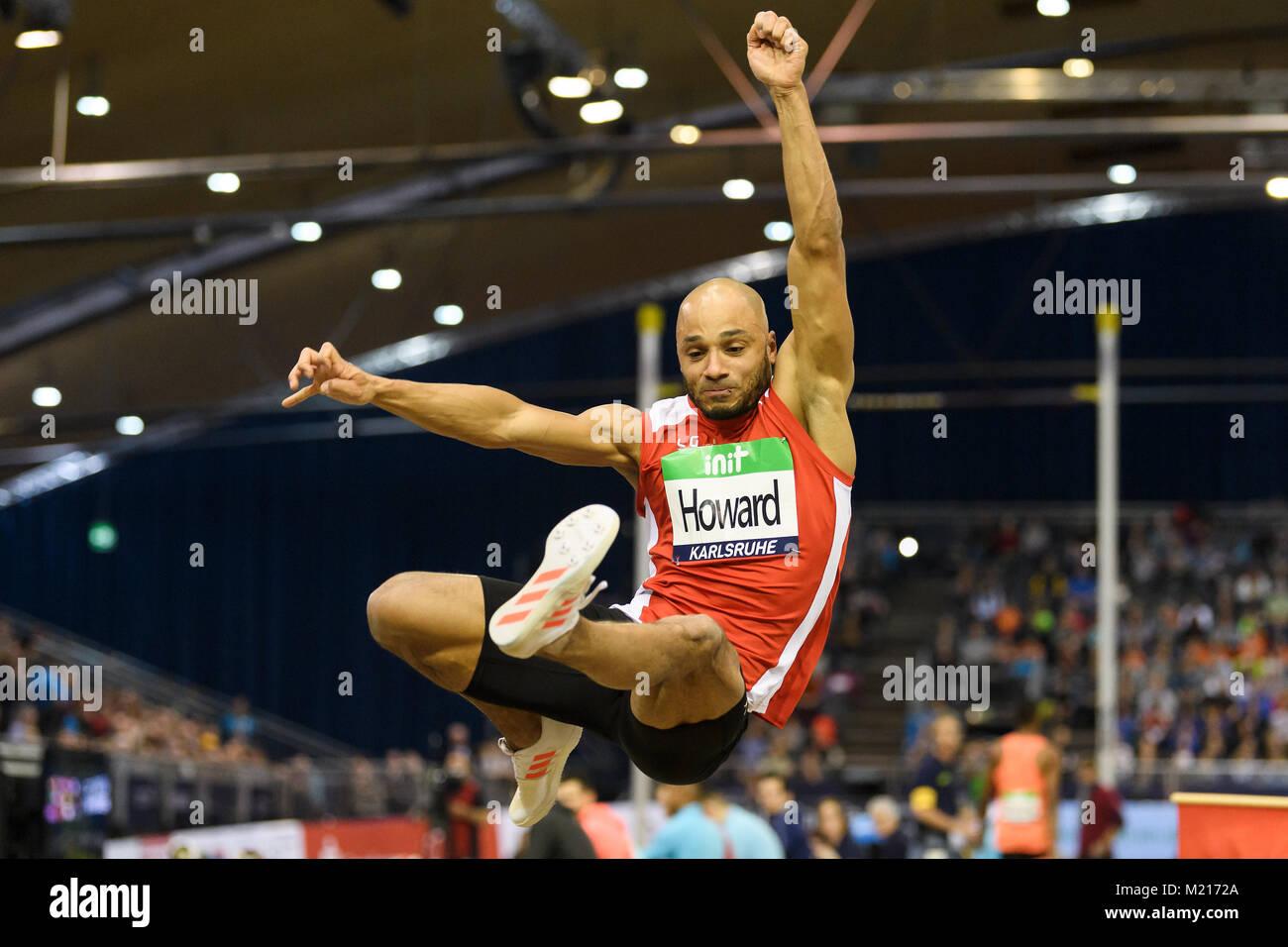 Karlsruhe, Deutschland. 03rd Feb, 2018. Weitsprung Maenner: Julian Howard (GER). GES/ Leichtathletik/ Indoor Meeting - Stock Image