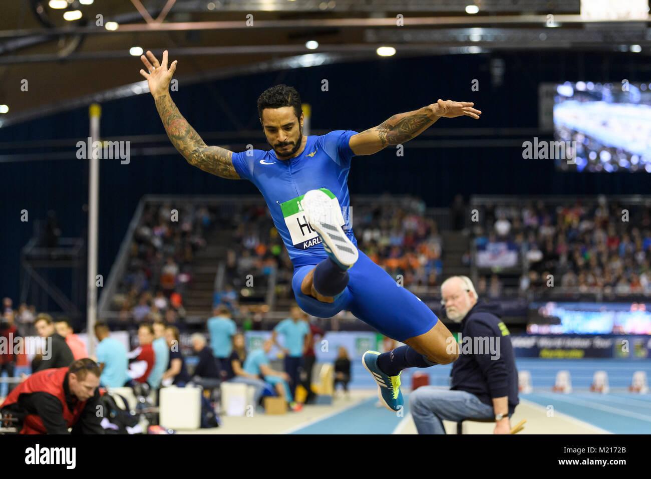 Karlsruhe, Deutschland. 03rd Feb, 2018. Weitsprung Maenner: Andrew Howe (ITA). GES/ Leichtathletik/ Indoor Meeting - Stock Image