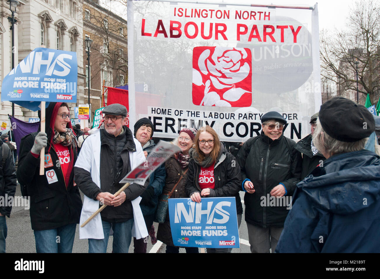 London, UK. 3rd February,2018. Smiling protesters with banner 'North Islington Labour Party, Home of Labour - Stock Image