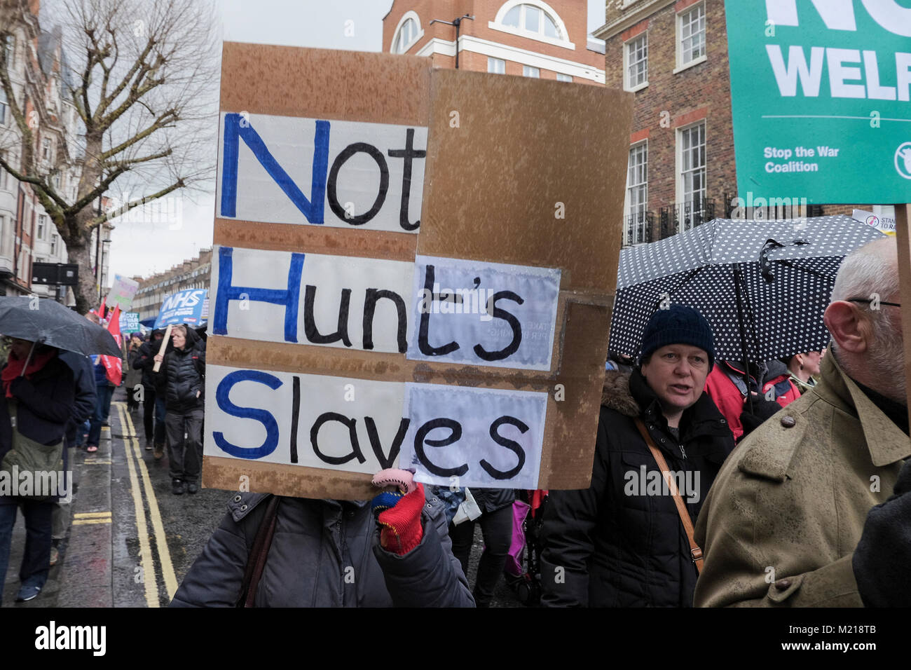 London, UK. 3 February 2018. Thousands of National Health Service workers, union members, activists and supporters - Stock Image