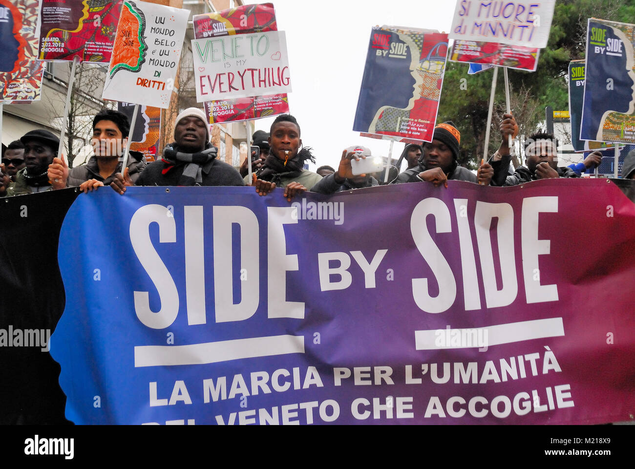 Chioggia, Venice, Italy, February 3rd, 2018. March 'Side by Side', Some hundreds people, Italians aln immigrants, - Stock Image