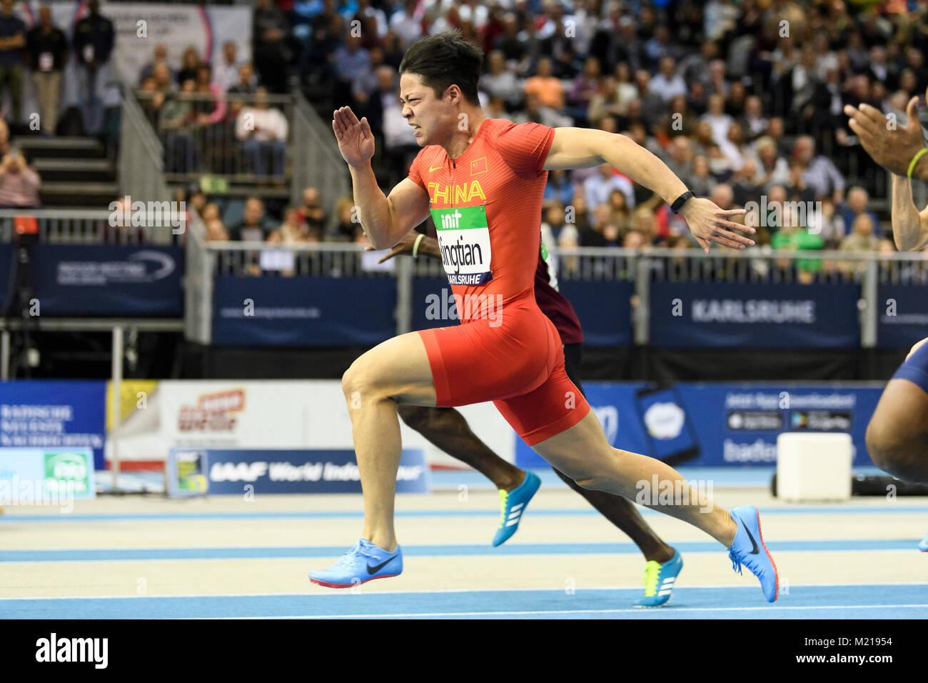 Karlsruhe, Deutschland. 03rd Feb, 2018. 60m Maenner: Sieger, Gewinner Su Bingtian (CHN). GES/ Leichtathletik/ Indoor - Stock Image