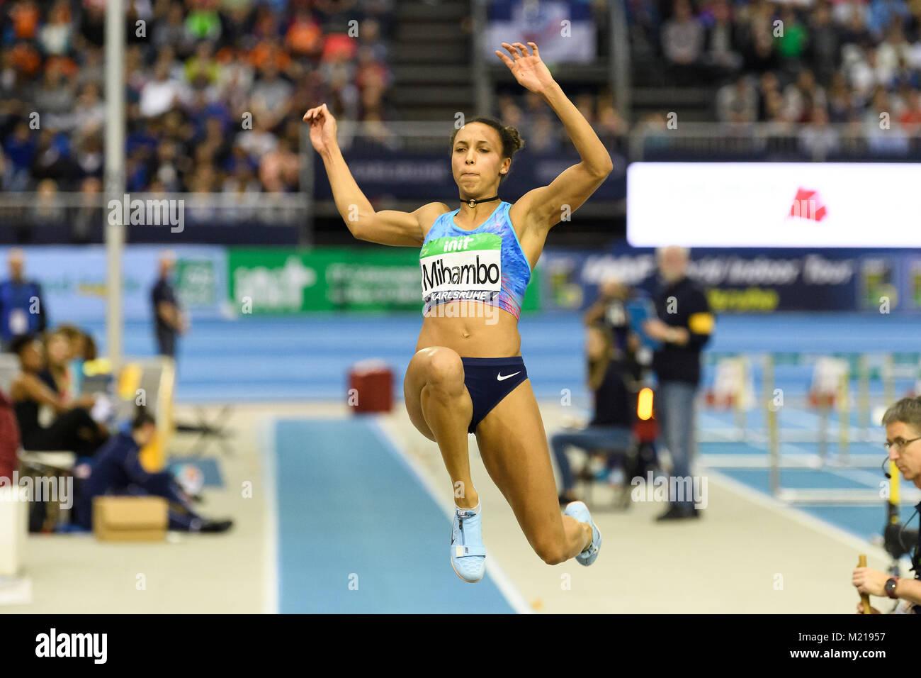Karlsruhe, Deutschland. 03rd Feb, 2018. Weitsprung Frauen: Sieger, Gewinner Makaika Mihambo (GER). GES/ Leichtathletik/ - Stock Image