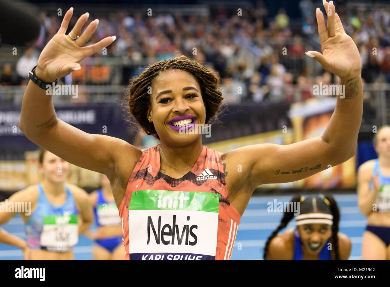 Karlsruhe, Deutschland. 03rd Feb, 2018. 60m Huerden Frauen: Siegerin, Gewinnerin Sharika Nelvis (USA) freut sich. - Stock Image