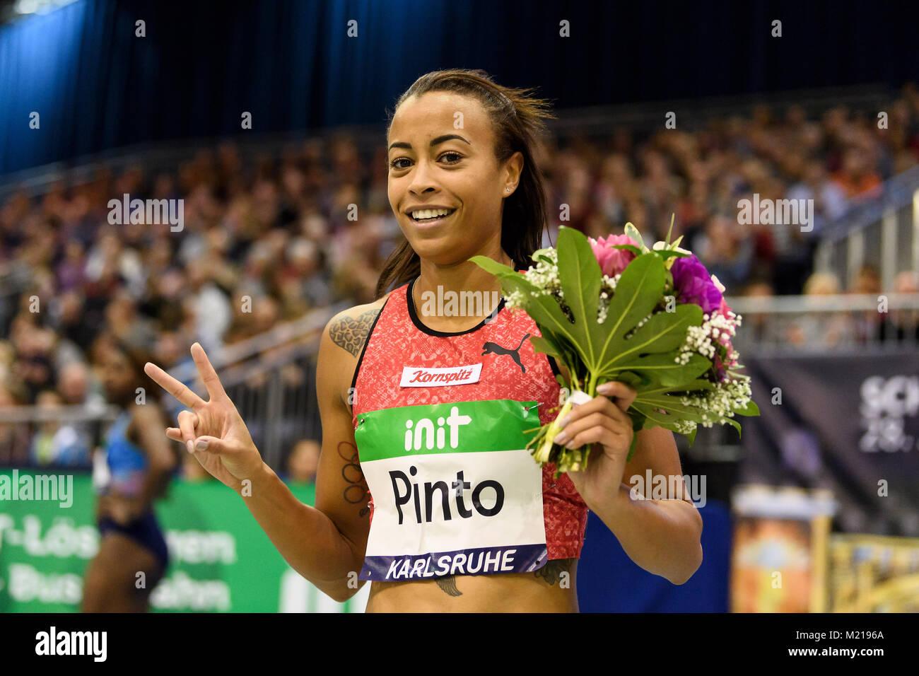 Karlsruhe, Deutschland. 03rd Feb, 2018. 60m Frauen: jubilation und Freude bei Siegerin, Gewinnerin Tatjana Pinto - Stock Image