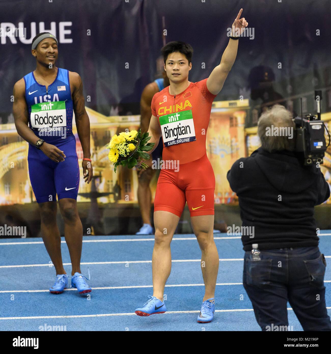 Karlsruhe, Deutschland. 03rd Feb, 2018. 60m Maenner: jubilation bei Sieger, Gewinner Su Bingtian (CHN). GES/ Leichtathletik/ - Stock Image