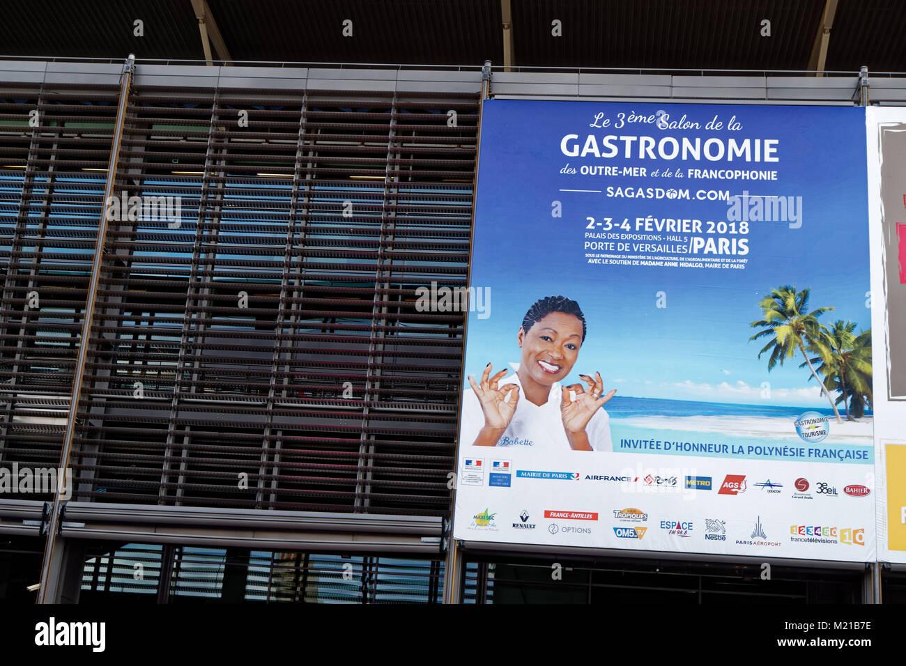 Paris, France. 2nd Feb, 2018. Initiated by Babette De Rozieres, the 3rd Edition of the Salon de la Gastronomie des Stock Photo