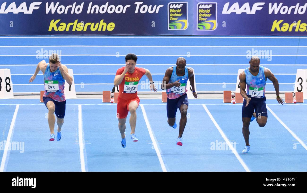 Karlsruhe, Deutschland. 03rd Feb, 2018. 60m Sprint Finale: Julian Reus (GER), Su Bingtian (CHN), Kim Collins (SKN), - Stock Image
