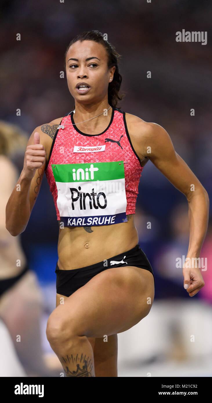 Karlsruhe, Deutschland. 03rd Feb, 2018. 60m Frauen: Siegerin, Gewinnerin Tatjana Pinto (GER). GES/ Leichtathletik/ - Stock Image