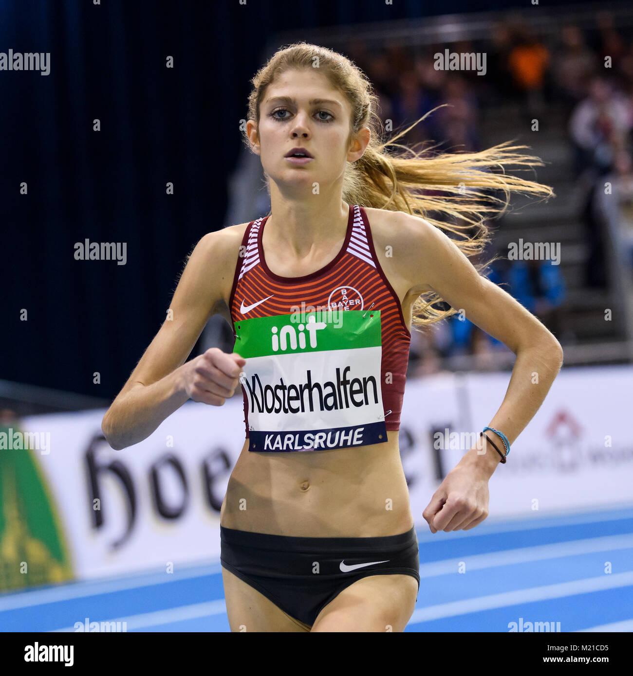 Karlsruhe, Deutschland. 03rd Feb, 2018. 1500m Frauen: Konstanze Klosterhlfen (GER). GES/ Leichtathletik/ Indoor - Stock Image