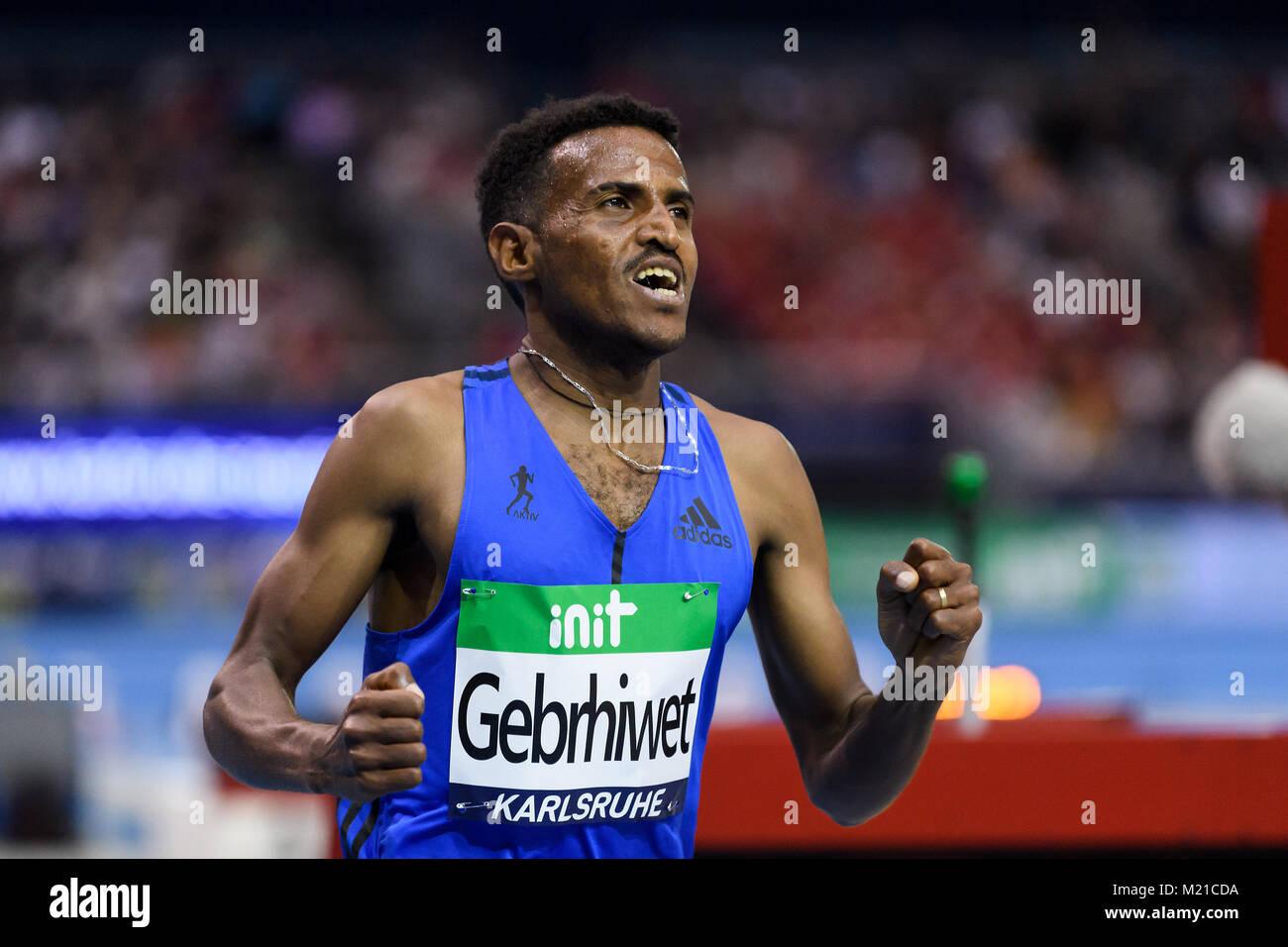 Karlsruhe, Deutschland. 03rd Feb, 2018. i3000m Maenner: Sieger, Gewinner Hagos Gebrhiwet (ETH). GES/ Leichtathletik/ - Stock Image