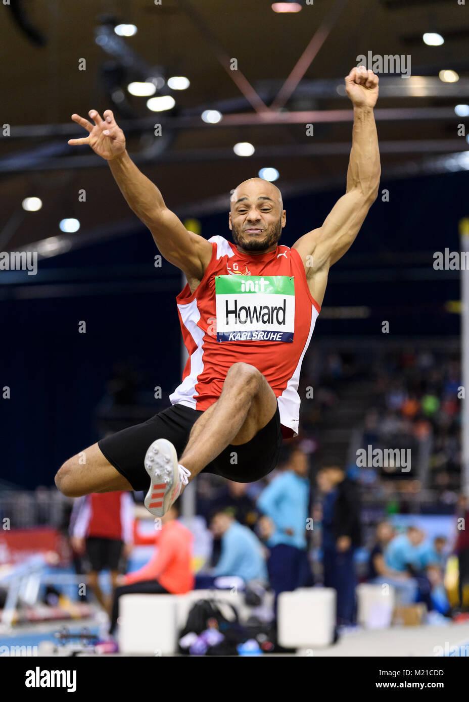 Karlsruhe, Deutschland. 03rd Feb, 2018. Weitsprung Maenner: Julian Howard (LG Region Karlsruhe). GES/ Leichtathletik/ - Stock Image