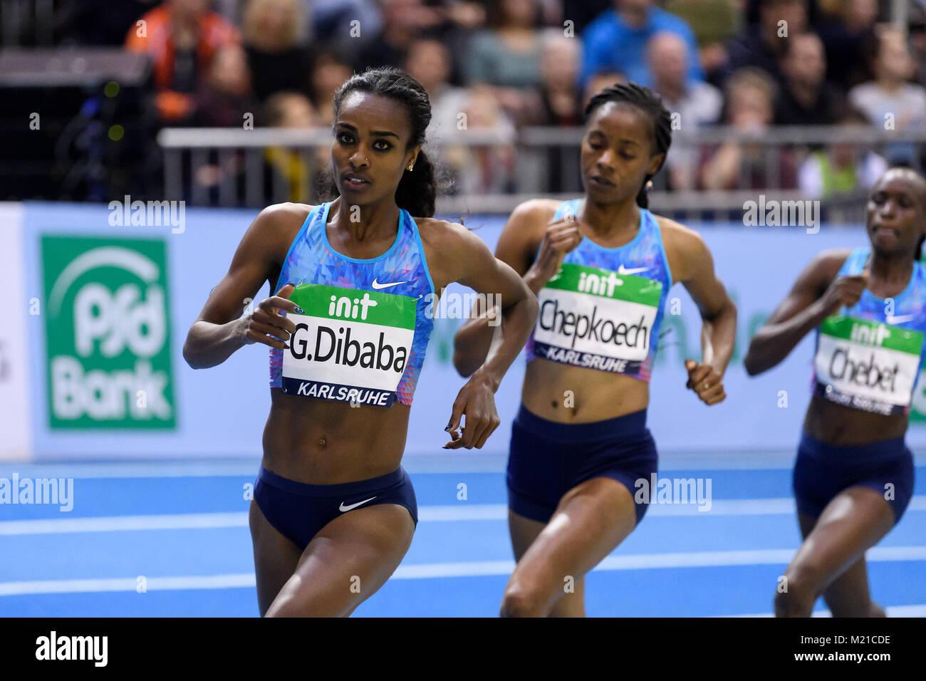 Karlsruhe, Deutschland. 03rd Feb, 2018. 1500m Frauen: Siegerin, Gewinnerin Genzebe Dibaba (ETH, li). GES/ Leichtathletik/ - Stock Image