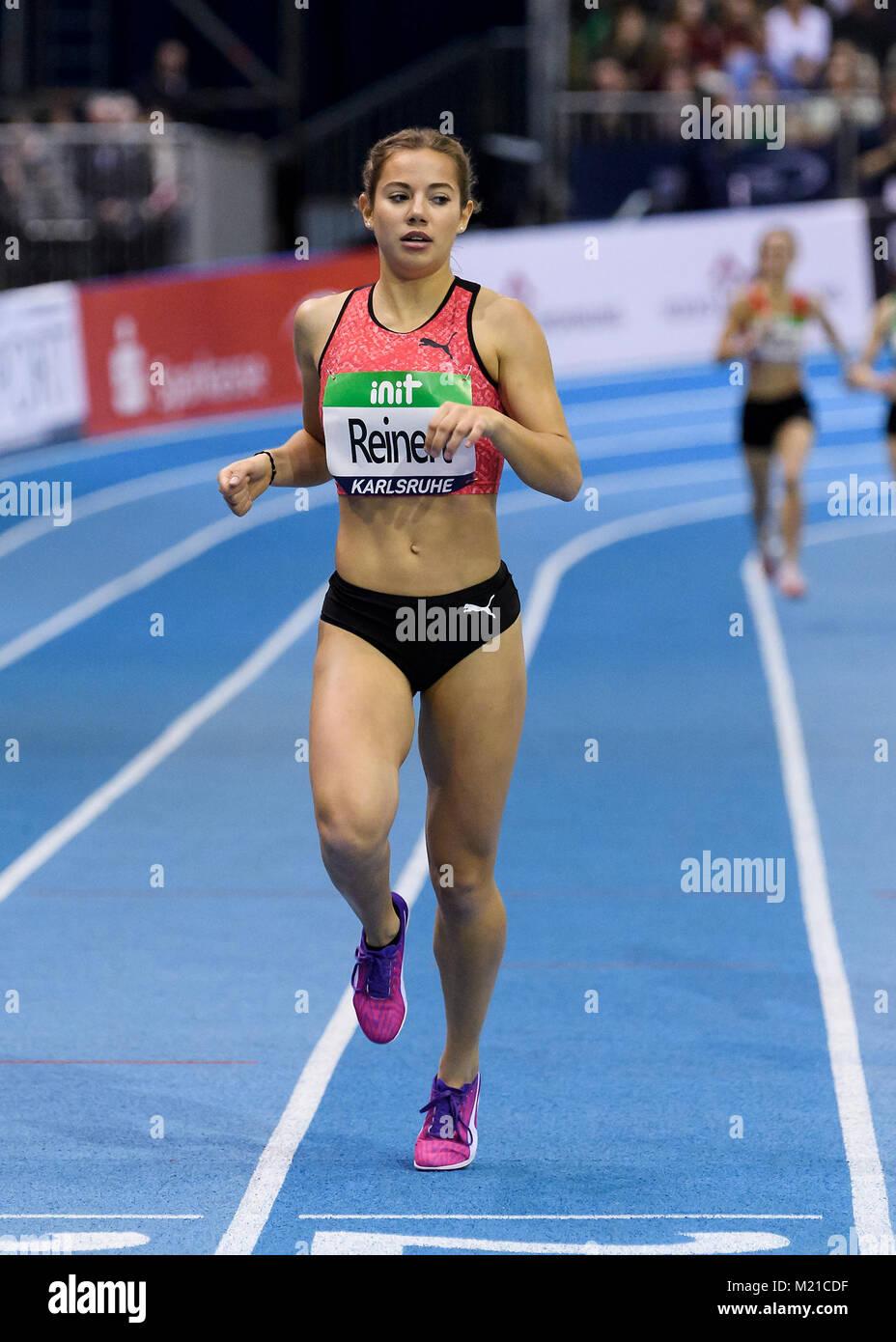 Karlsruhe, Deutschland. 03rd Feb, 2018. 1500m U16 Regional weiblich: Jana Reinert (LG Region Karlsruhe). GES/ Leichtathletik/ - Stock Image