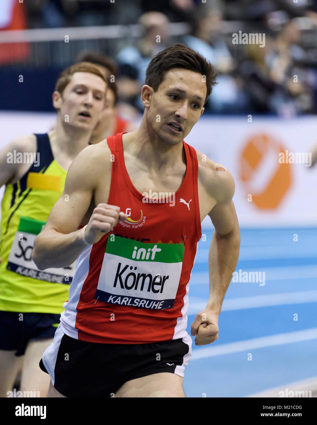 Karlsruhe, Deutschland. 03rd Feb, 2018. 1500m U16 Regional maennlich: Holger Koerner (LG Region Karlsruhe). GES/ - Stock Image