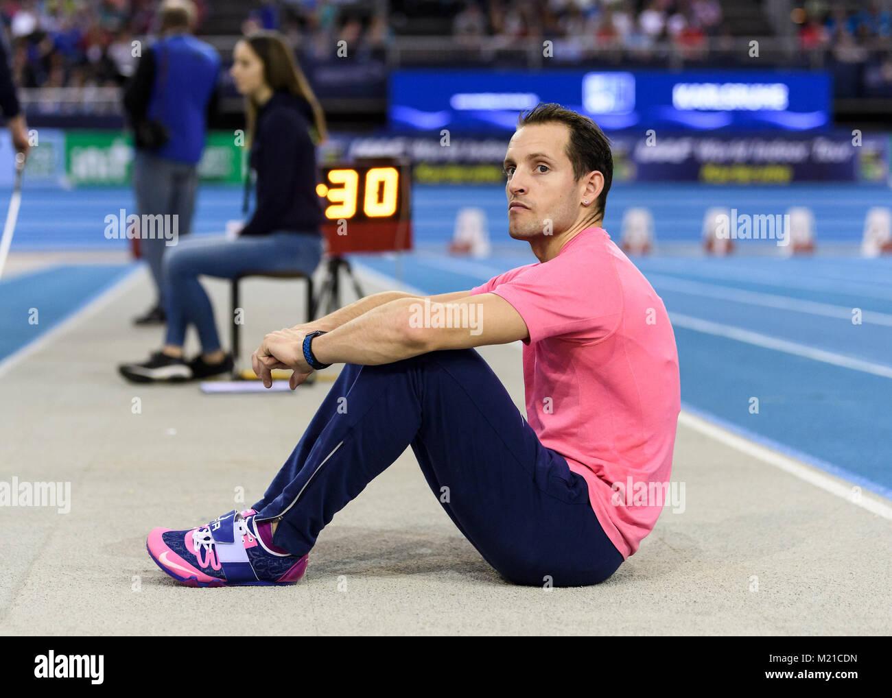 Karlsruhe, Deutschland. 03rd Feb, 2018. Stabhochsprung: Renaud Lavilennie (FRA). GES/ Leichtathletik/ Indoor Meeting - Stock Image